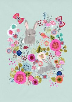 Down in the Garden (PaleAqua)....Giclee print of an original illustration Rebecca Jones