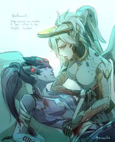 Mercy and Widowmaker by thececilz #Overwatch