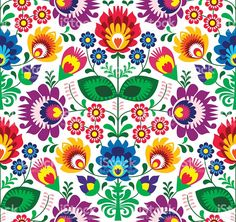 Illustration about Repetitive colorful background - polish folk art pattern. Illustration of cute, folk, garden - 31258852 Mexican Embroidery, Hungarian Embroidery, Folk Embroidery, Embroidery Designs, Flower Embroidery, Machine Embroidery, Bordado Popular, Mexican Pattern, Polish Folk Art