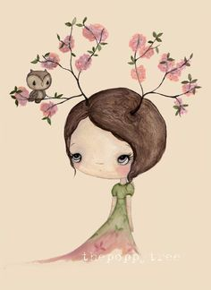 Tree Print Pink Cherry Blossom Bloom Spring Girl...