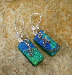 Green Hummingbird Earrings Dichroic Fused Glass  by GlassCat, $25.00