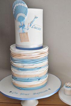 Belinda: Baked by Belinda   vintage hot air balloon christening birthday cake