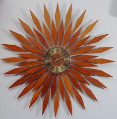 Starburst Wall Clock,1960s Mid Century Modern Sunburst.