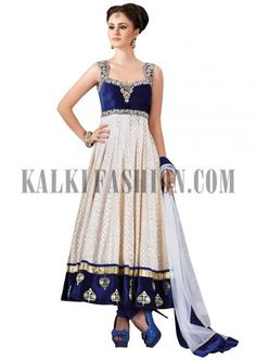 This would look great in royal purple as well :) Cream and blue anarkali suit with resham and zari embroidery