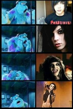Made me laugh but that's what I look like when I see a picture of Andy biersack I want to meet him and Ronnie radkie one day