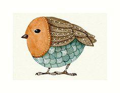 Aceo Watercolor Original Art - BIRD No.9 - Painted by Lorisworld. $15,00, via Etsy.