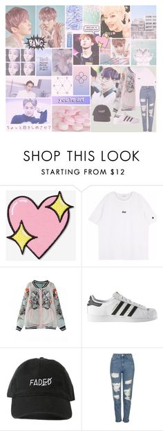 """""""Xiumin EXO Lucky One MV"""" by bangtanbish ❤ liked on Polyvore featuring Big Bud Press, adidas, Topshop, kpop, pastel and EXO"""