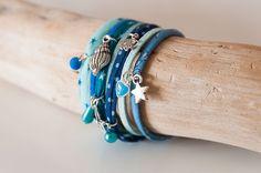 Bracelet multirangs manchette bleu océan 7 bracelets en 1 : Bracelet par coquelicocotte
