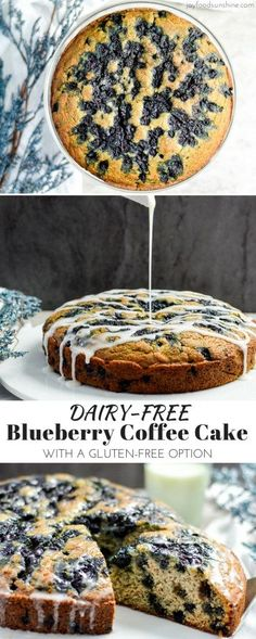 lightened-up Blueberry Coffee Cake Recipe is the perfect healthy breakfast for a special occasion! It is dairy-free & gluten-free and feeds a crowd! You can serve it as dessert too! Paleo Dessert, Dessert Sans Lactose, Breakfast For A Crowd, Breakfast Cake, Perfect Breakfast, Breakfast Healthy, Blueberry Breakfast, Breakfast Casserole, Breakfast Recipes
