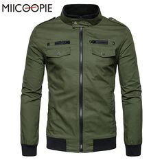Winter Jacket Men Military Long Sleeve Casual Jackets Men's Double Pockets Stand… #BlackFriday is coming early #BestPrice #CyberMonday