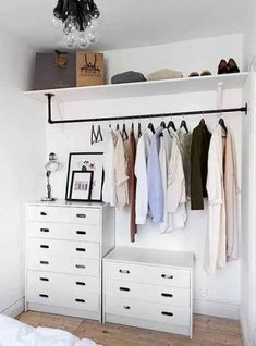 47 Ideas For Simple Closet Organization Diy Wardrobes Apartment Closet Organization, Closet Storage, Bedroom Storage, Organization Ideas, Diy Storage, Storage Ideas, Organized Closets, Organized Bedroom, Cabinet Closet