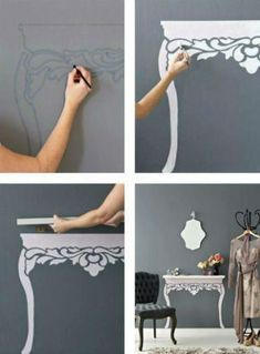 "instead of a table taking up space, just use a shelf and then paint the ""legs"" anyway you wish! GENIUS!"