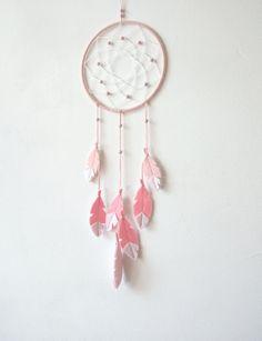 Pastel Pink Nursery Decor, Rose Quartz, Pink Dream Catcher, Dream Catcher Wall…