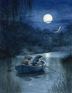 Moonlit River by Chris Dunn. {wind in the willows} Art And Illustration, Chris Dunn, Boat Icon, John Cheever, Fairytale Art, Moon Art, Whimsical Art, Cute Art, Fairy Tales