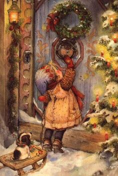 animated christmas little girl gif Christmas Scenes, Noel Christmas, Victorian Christmas, Vintage Christmas Cards, Christmas Pictures, Christmas Greetings, Winter Christmas, Christmas Decoupage, Vintage Cards