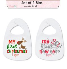 My First Christmas Bib My First new Year's Bib SET Personalized with Name Reindeer Baby by SweetTeezLLC on Etsy https://www.etsy.com/listing/255005327/my-first-christmas-bib-my-first-new
