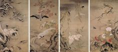 "Tan'yû Kanô(1602-1674) ""Four seasons, flowers and birds"", Eiheiji temple 狩野探幽 『四季花鳥図』 永平寺"
