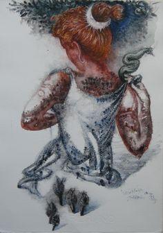 ARTEMIS DRESS UP -  water colour –25Χ35,5, 2002-03. ΑΡΤΕΜΙΣ ΕΝΔΥΟΜΕΝΗ - 25Χ35,5 ( ὑδατογραφία ) 2002-03.Paintings by Aristomenis Tsolakis, Athens.