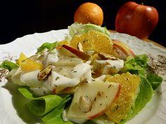 Zeller, narancs, alma tárkonyos majonézzel. A pikáns ízek