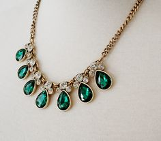 Anne Emma Jewelry - Forest Green Raindrop Crystal Jeweled Statement Necklace | Found on Etsy