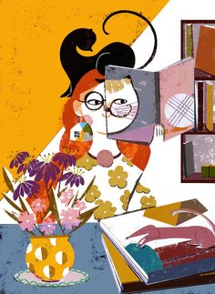 Decue Wu #illustration #girl #book #cat #flowers #reading #home