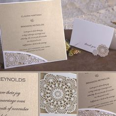 """""""Floral Filigree Pocket"""" features delicate flower accents at the bottom left corner where your invitation is nestled within. The open, lace-like appearance of these beautiful blooms is truly enchanting. Your custom text is imprinted with raised lettering. Many different card stock color options, including metallic and shimmer, are available.    Dimensions: 6.25"""" x 6.25"""" (W x H)"""