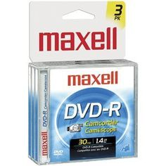 Maxell DVD-R Double Sided 2.8 GB 3pack Media for Camcorders by Maxell. $9.48. 2.8GB/60 minutes storage capacity 1.4GB/30 minutes per sideDesigned for use with all brands of DVD-R format camcordersIncludes jewel case. Save 37% Off!