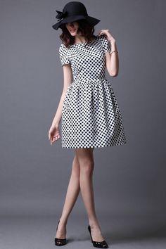 Oasap  Dots Printing Low Cut Back Lantern Dress
