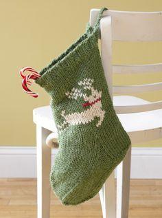 Free Kitted stocking patterns | Free Knitting Pattern L10414 Festive Reindeer Stocking : Lion Brand ...