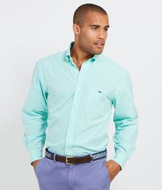 Maine Gingham Tucker Shirt with lavender pants, Vineyard Vines
