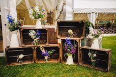 Wooden Crate Wedding Decor | DIY At Home Marquee Wedding | J S Coates Wedding Photography