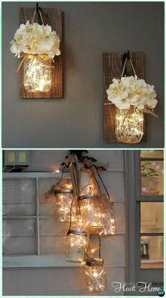 DIY Hanging Mason Jar String Lights Instruction - DIY Christmas Mason Jar Lighting (diy things to make creative)