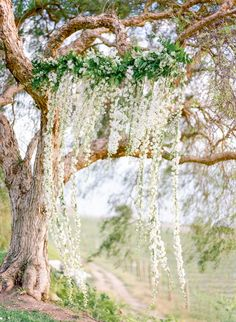 Hanging spring floral backdrop: http://www.stylemepretty.com/2016/05/25/the-ultimate-something-blue-wedding-inspiration/   Photography: The Grovers - http://www.troygrover.com/