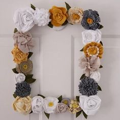 Fabric flower frame. I am in love with grey and mustard yellow right now.