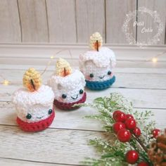 Crochet Christmas Decorations, Christmas Crochet Patterns, Crochet Ornaments, Christmas Knitting, Crochet Patterns Amigurumi, Christmas Crafts, Christmas Ornaments, Christmas Candles, Crochet Amigurumi
