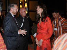 Smiles aplenty: Kate shares a joke with the BritishHonorary Consulate Michael Rutland, in Thimpu, Bhutan, during the ceremony tonight