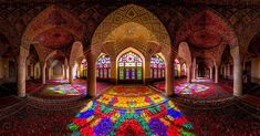 The Nasir Al-Mulk Mosque, a. the Pink Mosque, in Shiraz, Iran. This photo was created by Mohammad Reza Domiri Ganji, a northern Iranian photographer Shiraz Iran, Mosque Architecture, Amazing Architecture, Historical Architecture, Religious Architecture, Architecture Design, Persian Architecture, Inside A Mosque, Fairytale Room
