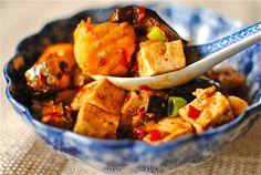 Ma Po Tofu with Roasted Salmon and Aubergine