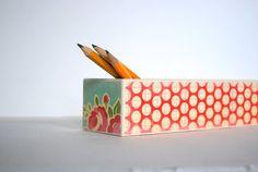 Pretty Polka Dot Pencil Box by Mmim on Etsy, $12.00
