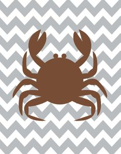 Chevron Crab  Beach Cottage Brown Grey Art Print by ZeppiPrints, $24.00