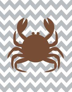 Chevron Crab  Beach Cottage Brown Grey Art Print by ZeppiPrints, $24.00