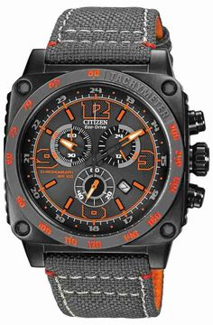 Citizen Drive AT2288-03H - In stock. A watch from the Citizen BFD range, built for purpose with a rugged design, chunky case and canvas strap, ensuring performance in the toughest conditions. The black ion-plating and bright orange detailing adds a head-turning finish to go with the functionality. Features include: accurate chronograph (up to 1 second), 12/24 hour time, date display and glowing hands.