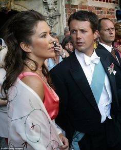 A fresh-faced royal: In 2002 Mary's style was less confident and her trademark long hair w...