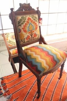 Upholstered in Waverly fabric. Very Mexican, southwest feel to it. Vintage Antique Eastlake Chair Reupholstered