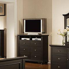 @Overstock - Material: Hardwoods and MDF  Finish: Cottage black finish   Color: Black  http://www.overstock.com/Home-Garden/Napa-Black-6-drawer-Media-Chest/6316336/product.html?CID=214117 $519.99