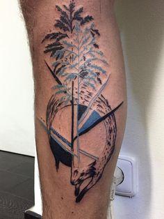 fox tattoo blue