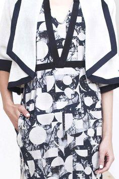 Bold lines & geometric shapes over a fragmented landscape print; pattern fashion // Zero + Maria Cornejo