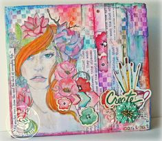 Art Washes Away The Dust...Kelly Foster brightens our world with this fabulous mixed media journal featuring the Bloom Collection! @Jamie Dougherty #bloomcollection #primamarketing #DIY