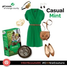 """Would you like to dress as your favorite Girl Scout Cookie? This outfit is called """"Casual Mint"""" and it's inspired by the Girl Scout Thin Mint Cookie! #CookieCouture"""