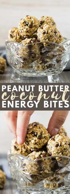 No-Bake Peanut Butter Coconut Energy Bites – Deliciously creamy and fudgy energy bites bursting with peanut butter flavour, and loaded with chocolate chips. A healthy protein-packed breakfast or snack! More from my siteSteel Cut Oatmeal Energy Bites Protein Energy Bites, Peanut Butter Energy Bites, Peanut Butter Snacks, Coconut Peanut Butter, Homemade Peanut Butter, Peanut Butter Protein, Energy Snacks, Food Energy, Almond Butter